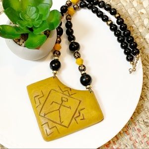 Vintage Tribal Leather Beaded Statement Necklace